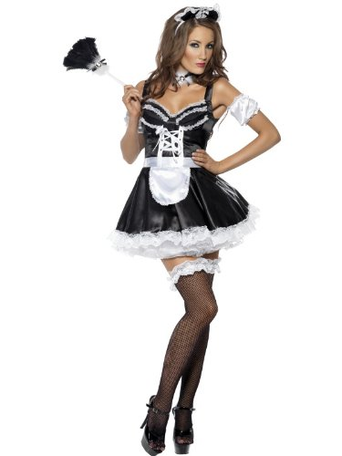Smiffys Women's Fever Flirty French Maid Costume, Dress, Headpiece and Sleeves, Around the World, Fever, Size 10-12, 31212 ()