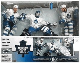 2002 - McFarlane Sportspicks / NHL - Series 3 - Toronto Maple Leafs - Canadian Exclusive 3-Pack Limited Boxed Edition - #13 Mats Sundin / #20 Eddie Belfour / #89 Alexander Mogilny Action Figures - Net & Bases Included - RARE - Out of Production - Limited Edition - Collectible