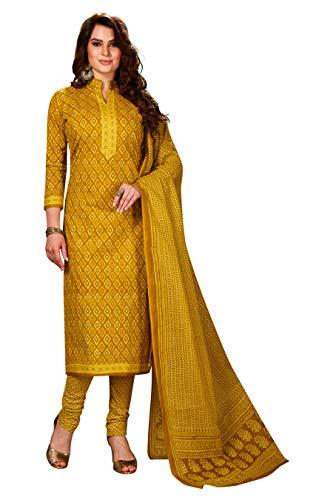Jevi Prints Women's Unstitched Pure Cotton Yellow Geometric Print Dress Material (ZR-2008_Yellow_Free Size)