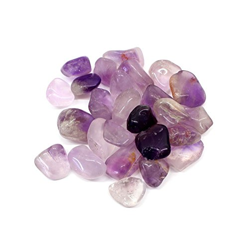 (1/2 lb Tumbled Amethyst Stones Set Mixed Large and Small Décor Lot - Gemstone supplies for Wicca Reiki Healing Crystals)