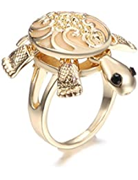 Glow in the Dark Women's Cute Turtle Tortoise & Owl & Butterfly Animal Rings Gold Plated