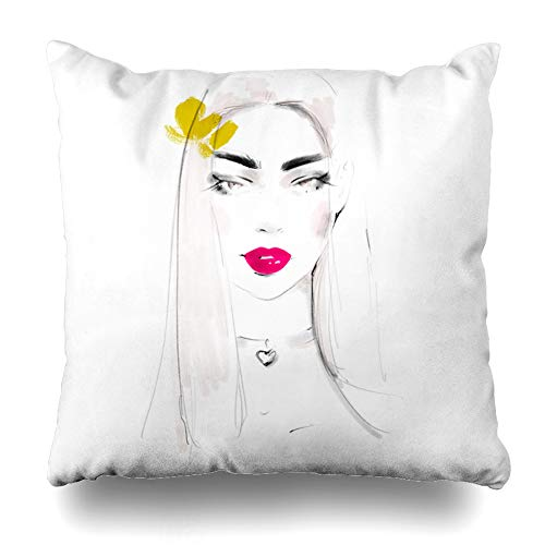 Ahawoso Throw Pillow Cover Hairstyle Watercolor Artistic Sketch Girl Face Sexy Adult Blush Cosmetics Drawing Earrings Design Home Decor Cushion Case Square Size 20