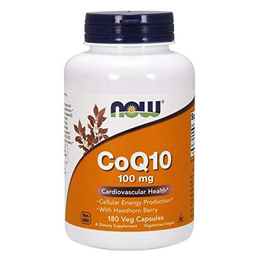 NOW CoQ10 100 mg with Hawthorn Berry,180 Veg (Hawthorn 100 Capsules)