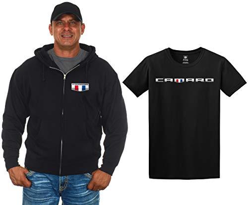 JH DESIGN GROUP Men's Chevy Camaro Zip-Up Hoodie & T-Shirt Combo Gift Sets (X-Large, Camaro Shield)