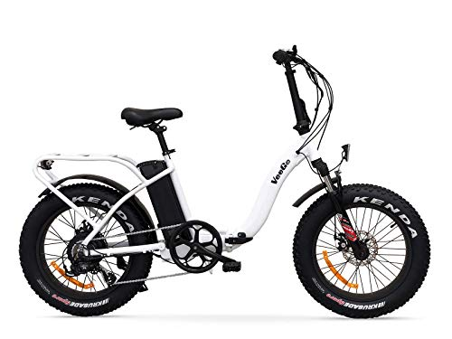 Ride Scoozy VeeGo Folding Fat Tire Electric Bicycle with a 500W Bafang Hub Motor and Heavy Duty Cargo Rack (White)