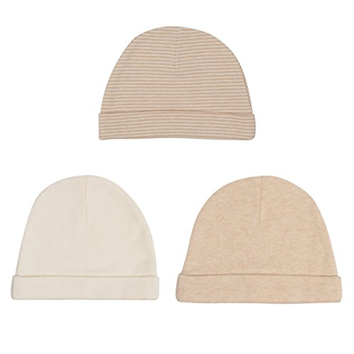 Niteo Organic Cotton Baby Caps, Luxuriously-Soft, All Natural, Dye-Free, 3-Pack, Solid/Pinstripes, ()