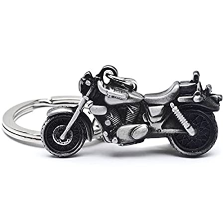 Krator HBK-B KEYCHAIN (New 3D Motorcycle Cruiser Bike Key Ring Chain Motor Keyring Gray Metal)
