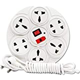 Meralite Round Power Strip , 6 Amp 8 Multi Plug Point Power Strip With Led Indicator And Universal Socket - White