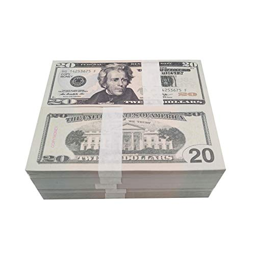 Movie Prop Money Full Print 2 Sided,Copy Play Money 100 pcs 20 Dollar Bill for Movie,Teaching and Birthday Party
