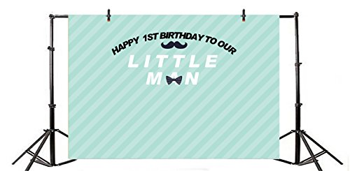 Yeele 7x5ft Boy 1st Birthday Backdrop Vinyl Little Man Baby Birthday Party Bow Tie Decoration Banner Home Photography Background Boy Girl Newborn Portraits Photo Booth Video Shoot Props]()