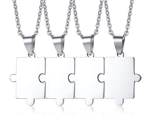 Mealguet Jewelry Personalized Customized Stainless Steel Matching Puzzle Piece Charm Best Friend Friendship BFF Puzzle Necklace for 4
