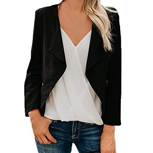 CUCUHAM Women Long Sleeve Blazer Open Front Short Cardigan Suit Jacket Work Office Coat(Black,US:8/CN:M) for $<!--$11.24-->