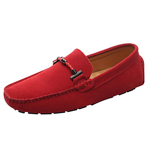 Jamron Mens Elegant Buckle Loafers Comfort Suede Driving Shoes Stylish Moccasin Slippers Red SN19020 US6 (Moccasin Driving Shoes)