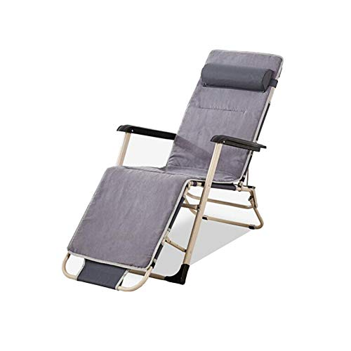 Chairs Bath Reclining Head Pad - XUERUI Furniture Sun Lounger Recliner Reclining Folding Deck Chair Garden Bed Headrest Zero Gravity Folding (Color : Single Square Tube+Cotton pad)