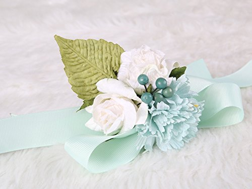 Sweet Mulberry paper bridesmaid wrist flower Decor Ceremony Party (Mint)