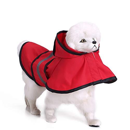 JudyBridal Waterproof&Lightweight Dog Raincoat Leisure Dog Coat Jacket Rain Jacket Hood X-Small to 4X-Large Dogs Puppies Red