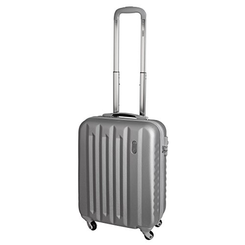 Karry Handgepäck Bordgepäck Hartschalen Koffer für Kurzreisen Urlaub Reisen Businesskoffer Trolley Case TSA Schloss 30 Liter Silber 811