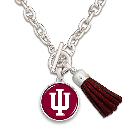 FTH Indiana Hoosiers Silver Tone Logo and Tassel Necklace