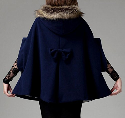 Wrap amp;S Coat Fashion Women's Outwear Poncho Faux Fur 1 M Cape Cloak amp;W U4awxR