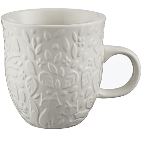Mason Cash In the Forest Mug, 16-Fluid Ounces, Durable Stoneware Construction, Intricate Embossed Design, Microwave and Dishwasher Safe, Cream
