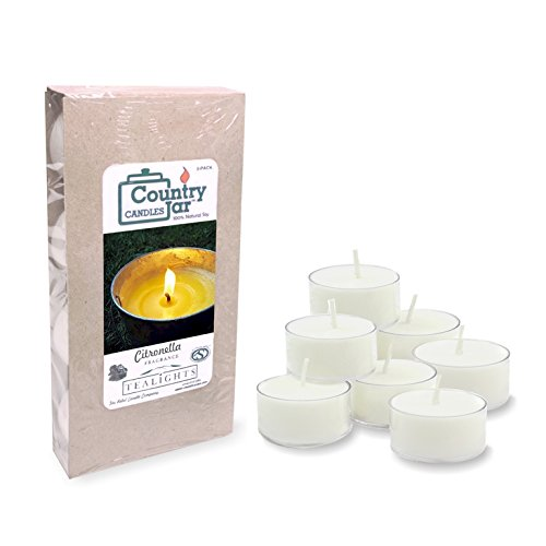 Country Jar CITRONELLA Soy Tea Lights - (8-Pack) Candles Made with PREMIUM USA Grown Natural SuperSoy Wax (Large Citronella Lights Tea)