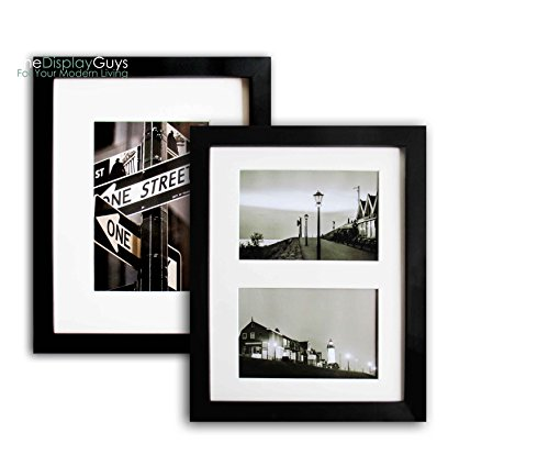 2 Sets 11x14 inch Black Picture Frame Made of Solid Pine Wood and Tempered Glass With White Core Mat Boards 2 for 8x10 Photos+ 2 for 2- 5x7 Photos (Black) (Gift Ideas $25 Exchange)
