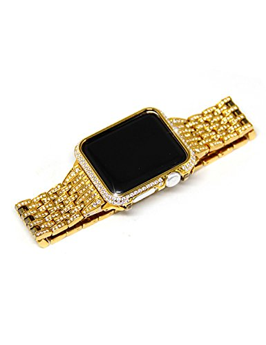 De Diamond Bezel (Callancity crystal diamond case cover bezel gold color for Apple watch 38mm series 1 2 3)