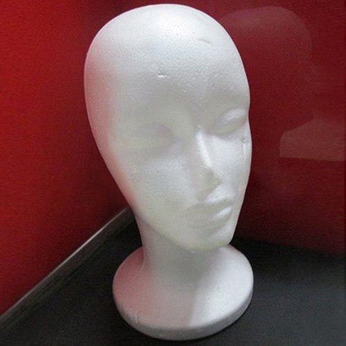 Connoworld Practical Female Styrofoam Foam Mannequin Head Model Professional Bald Manikin Head Mask Hat Wig Hair Jewelry Headset Scarves Glasses Stand Tool Showcase Display Props Holder by Connoworld (Image #3)