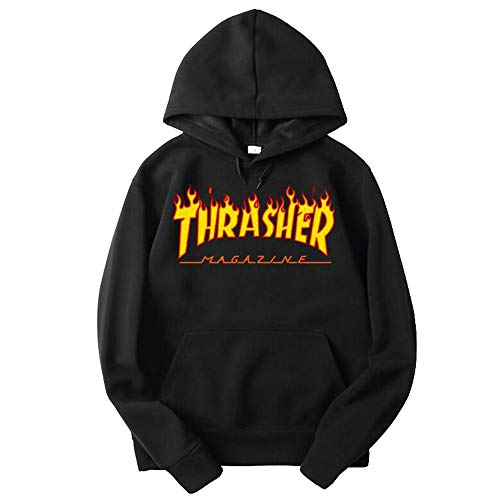 (hannucas Unisex Thrasher Flame Hoodie Pullover Sweatshirt for Men and Woman with Pocket (Black, S) )