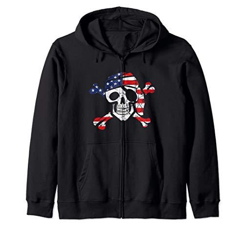 (American Flag Patriotic Pirate Skull And Crossbones Zip Hoodie)
