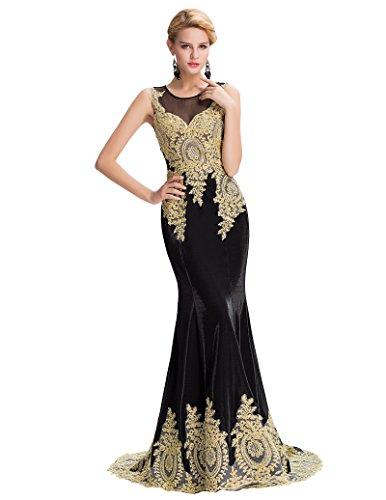 Vestido Sin ajustado mangas Belle Dress para negro Long Prom mujer pwqwtB4