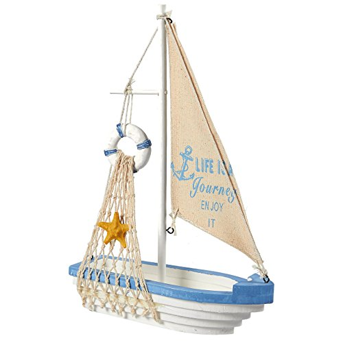 Juvale Sailboat Model Decoration - Wooden Sailing Boat Home Decor Set, Beach Nautical Design, Navy Blue and White with Lifebuoy, 12.5 x 8.25 x 3 ()