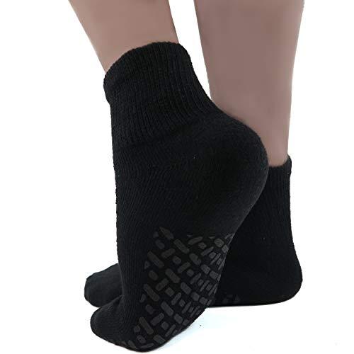 Diabetic Socks Mens Non-slip Grip Cotton 6-Pack Ankle Black By DEBRA WEITZNER