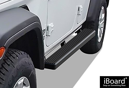 APS iBoard Running Boards 4″ Matte Black Custom Fit 2018 Jeep Wrangler JL Sport Utility 4-Door (Nerf Bars | Side Steps | Side Bars)