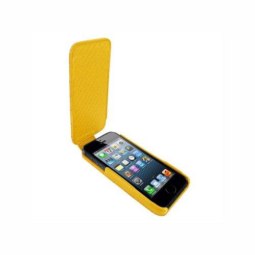 Piel Frama U594COY iMagnum Krokodil Optik Ledertasche mit Magnetverschluss für Apple iPhone 5/5S gelb