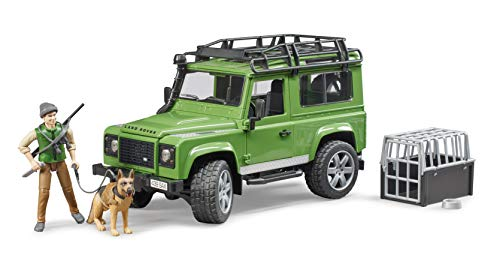 Bruder 2587 02587 Land Rover Defender Station Wagon with Forester and Dog