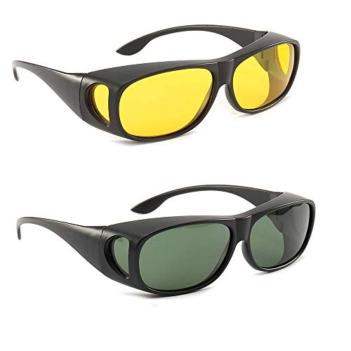 2Pack HD Night Day Vision Driving Wrap Around Anti Glare Sunglasses with Polarized Lens for Man and Women (sand black frame green lens+sand black frame yellow ()