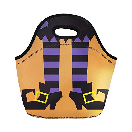 Semtomn Lunch Bags Funny Purple Shoes Witch Legs Orange Stripes Black Halloween Neoprene Lunch Bag Lunchbox Tote Bag Portable Picnic Bag Cooler Bag
