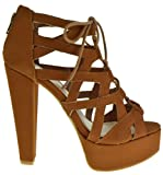 Clarice 22V Peep Toe High Heel Lace Up Strappy Pumps Tan