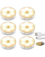 (6 stuks) ledlamp met bewegingsmelder, ledlampen met batterij, oplaadbaar, kastlicht met magneetstrip voor kastverlichting, trappen, hal, keuken, garage enz.