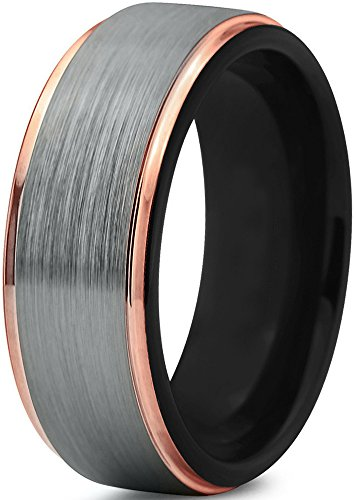 Midnight Rose Collection Tungsten Wedding Band Ring 8mm for Men Women 18k Rose Gold Plated Step Edge Black Brushed Polished Size 13
