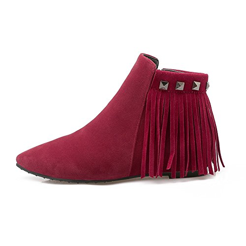 BalaMasa Womens Tassels Winkle Pinker Zipper Heighten Inside Imitated Leather Boots Red LjwSP