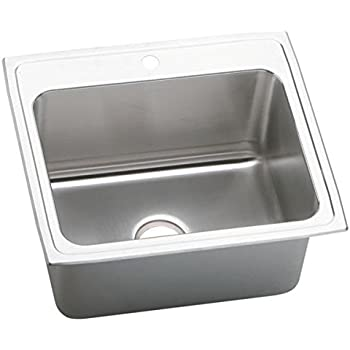 elkay dlr2522122 2 hole gourmet lustertone stainless steel single basin top mount kitchen sink elkay dlr3122100 gourmet lustertone stainless steel single basin      rh   amazon com