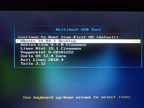 Multiboot 16GB Flash Drive with 7 Live Linux Operating Systems, 64bit. Kali, Tails, Ubuntu, Mint, Zorin, Peppermint, Debian