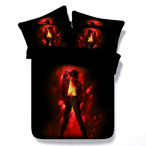 3D Michael Jackson Duvet Cover Set,Fashion Popular Singer Flame Michael Jackson Design,Bedroom Decoration 4 Pieces Bedding Set & Flat sheet & Pillow Shames (Flame Michael, Twin) Michael Jackson Covers