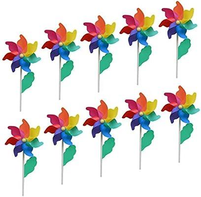 F Fityle 10 Pcs Molinos de Viento de Colores Regalo Artesanal para Jardines de Infantes, Jardines, Cuartos de Niños, Fiestas o Vitrinas: Amazon.es: Juguetes y juegos