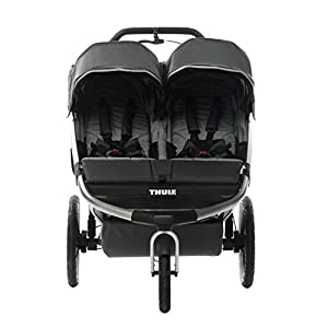 Thule Urban Glide lightweight Sport Baby Jogger Stroller w/ Glide OEM Rain Cover & Abus Combo Lock, Easy One handed Compact Fold for after Workout, Extra Large Storage Basket (2-Child, Dark Shadow)