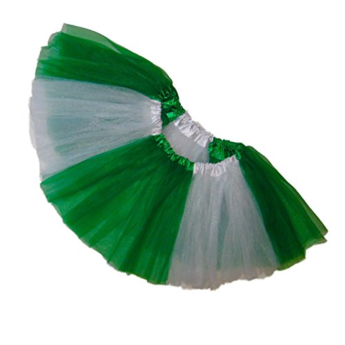 Dance Cheerleader Costumes (Southern Wrag Company LITTLE GIRLS TEAM SPIRIT Tutu Sizes Infant to 6X (TODDLER: 9in Long, WHITE KELLY GREEN))