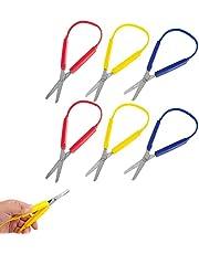 6Pcs Kids Scissors,Adaptive Loop Scissors Colorful Grip Scissors Loop Self Opening Scissors Adaptive Cutting Scissors for Kids and Adults