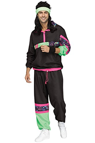 80s Jumpsuit Costume (Fun World Men's 80's Track Suit, Multi,)